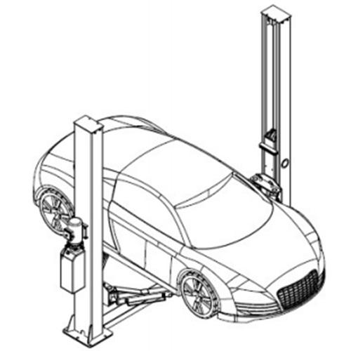 Diagram avtomobila na elektro-hidravličnem dvostebrnem dvigalu