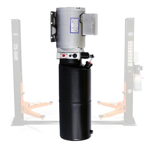 Motor in rezervoar dvostebrnega dvigala z dvostebrnim dvigalom za ozadje